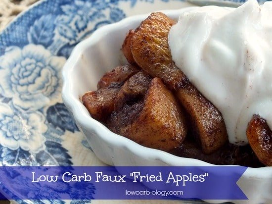 a dish of low carb fried apples