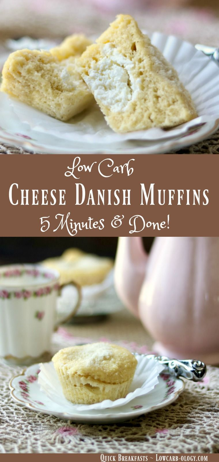 This low carb cheese danish muffins recipe means breakfast is no longer boring. Quick, easy, and delicious, these muffins have about 3 net carbs each.From Lowcarb-ology.com