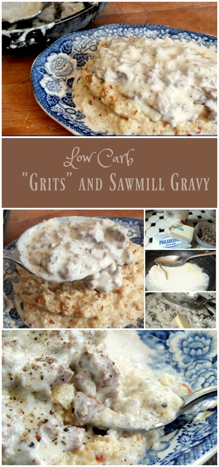 Low-carb breakfasts usually mean some form of eggs, right? Not with this dish of low carb grits and sawmill gravy. 3 little carbs and a whole lot of yum.