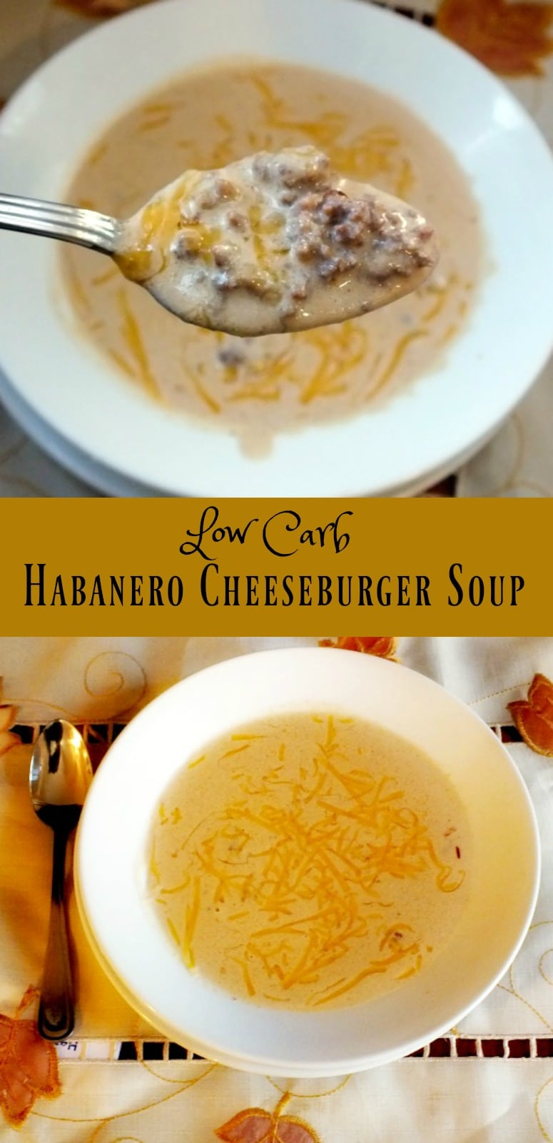 This low carb Habanero Cheeseburger soup is soul warming, tongue tingling comfort food - and it's easy!  From Lowcarb-ology.com