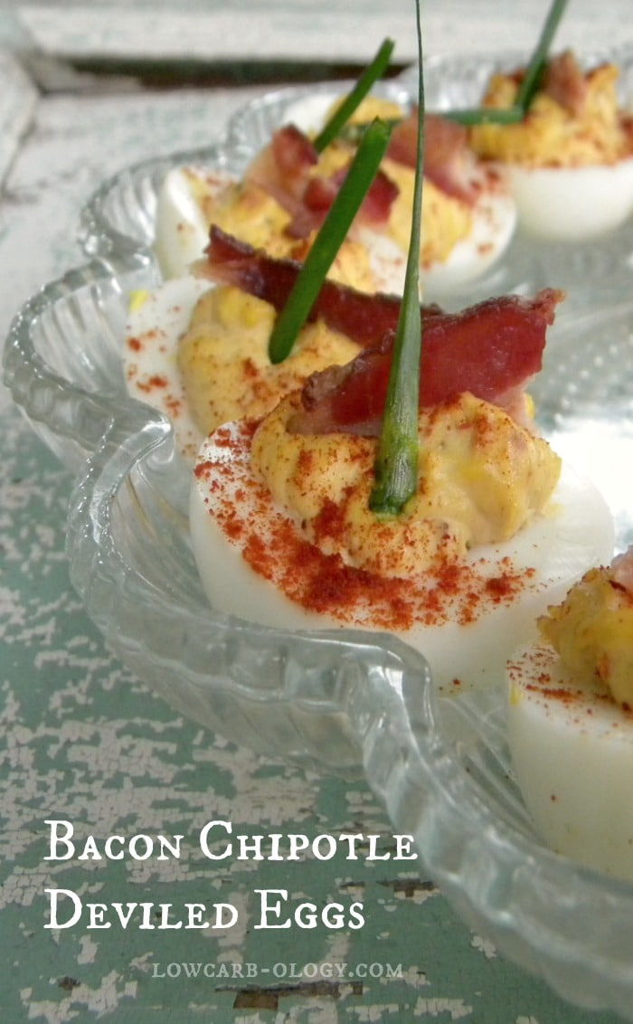 bacon chipotle deviled eggs|lowcarb-ology.com