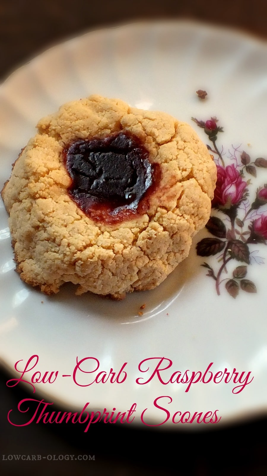 low-carb raspberry thumbprint scones similar to the high carb ones Starbucks used to have|lowcarb-ology.com