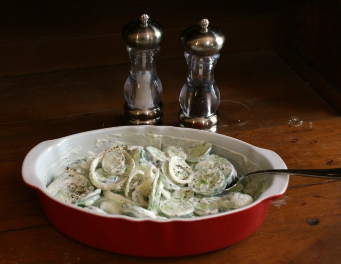 low carb cucumbers in sour cream|lowcarb-ology.com