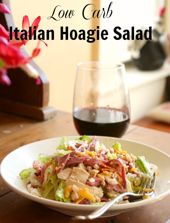 low carb italian salad with lots of protein and very few carbs -quick and easy meals from lowcarb-ology.com