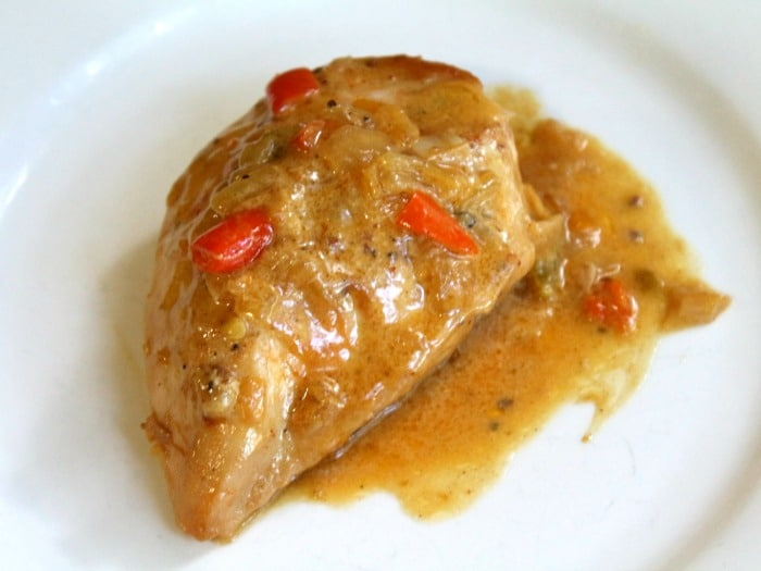 Chicken breast with hot sauce