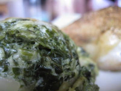 lowcarb creamed spinach is easy to make and this recipe is creamy, garlicky, bacony yuminess - lowcarb-ology.com