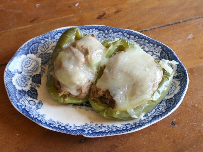 low carb italian beef stuffed peppers without rice are covered in creamy provolone - lowcarb-ology.com