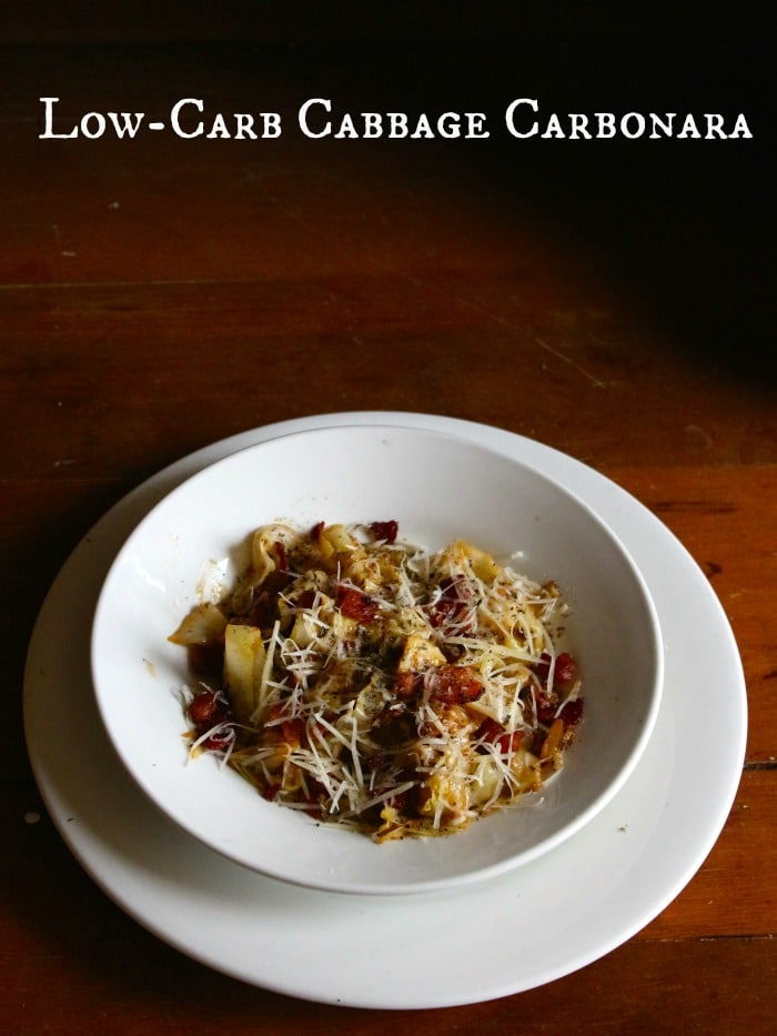 low-carb cabbage carbonara has all the flavor and richness that you want when you are craving Italian food. Smoky bacon, salty Parmesan, and garlic flavor this dish beautifully. Lowcarb-ology.com