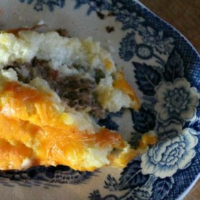 Lowcarb-shepherds pie is serious comfort food. This one is flavored with a little horseradish.