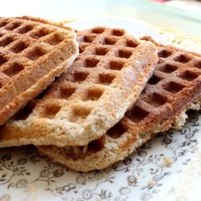 low carb waffles are crispy and perfect with some 0 carb maple syrup! Lowcarb-ology.com