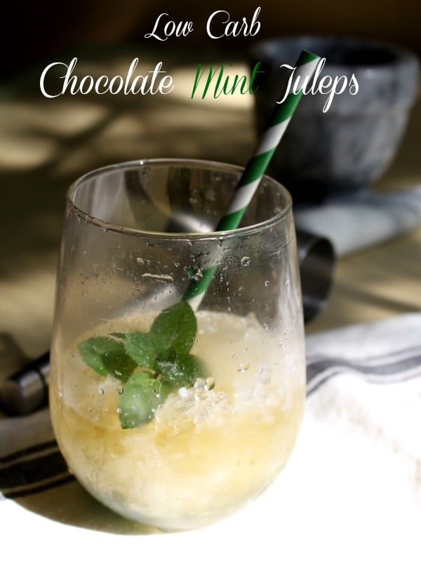 Low carb chocolate mint julep is a great way to celebrate Derby Day or a sweltering hot southern afternoon on the porch. Fresh chocolate mint leaves give it a subtle chocolate flavor that is amazing. from lowcarb-ology.com