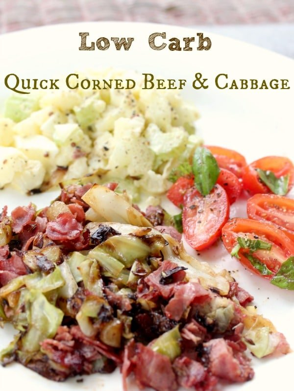This ultra-quick corned beef and cabbage is low carb, you can make it for one serving, and it is totally done in 15 minutes. Seriously. Lowcarb-ology.com