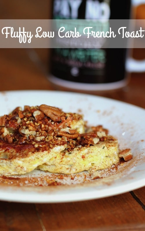 Fluffy low carb French toast has just 3.5 net carbs and is done in under 5 minutes. From Lowcarb-ology.com