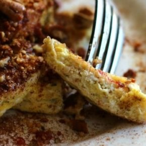 This low carb French toast is fluffy and sweet and it goes together in minutes. Just 3.5 net carbs per serving. From Lowcarb-ology.com