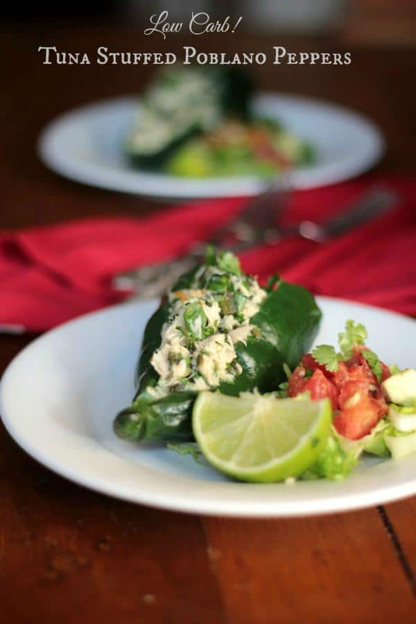 Tuna stuffed poblano peppers are a light low carb lunch with lots of Tex-Mex flavor! From Lowcarb-ology.com