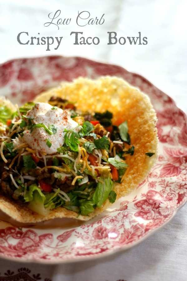 Lowcarb crispy taco bowl is easy to make and SO good with taco salad! 0.5 carb! From Lowcarb-ology.com