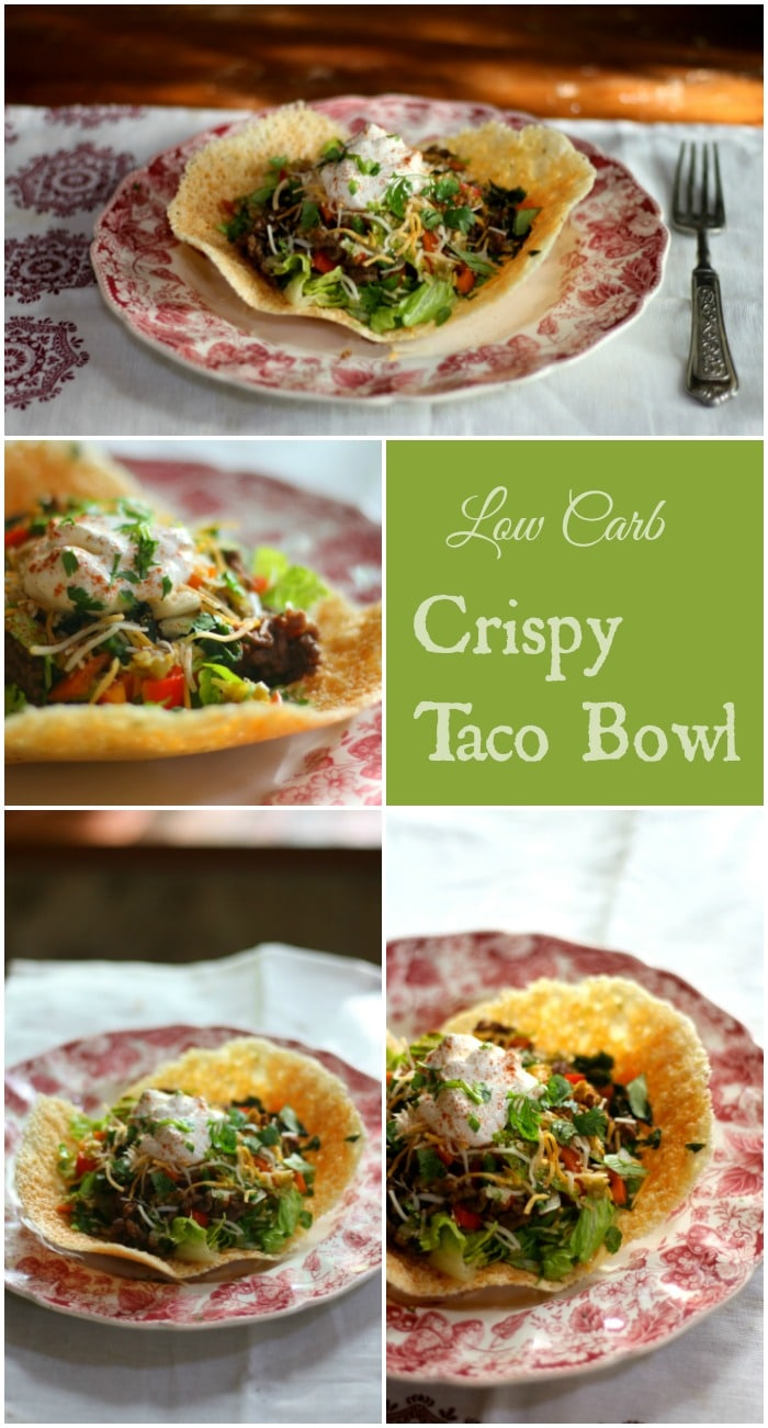 Low carb crispy taco bowl has just 0.5 carbs and it's super easy to make! From Lowcarb-ology.com
