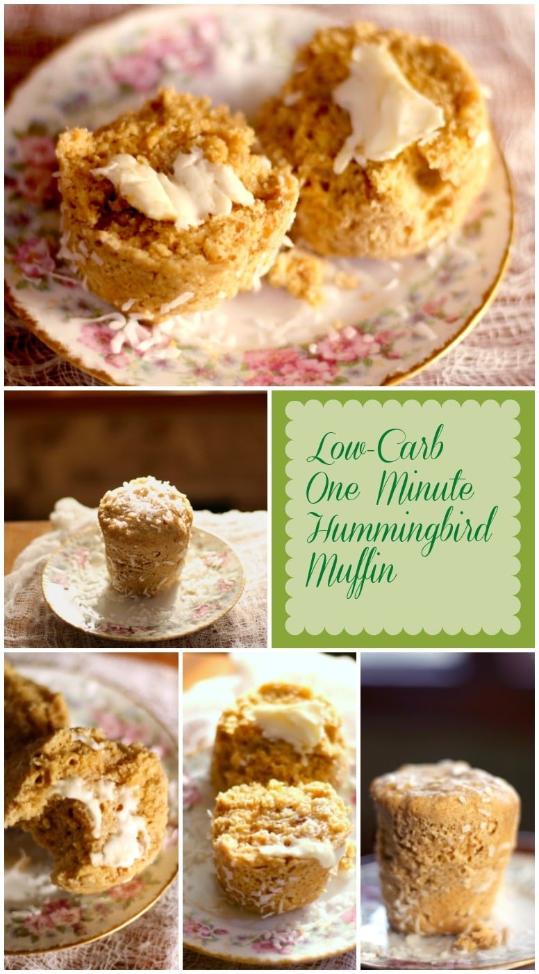 Make these one minute hummingbird muffins in your microwave for a low carb breakfast! From Lowcarb-ology.com
