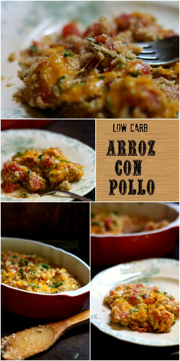 Low carb Arroz con Pollo has just 6.9 carbs, Atkins friendly, and is so delicious! Easy to make, too! From lowcarb-ology.com
