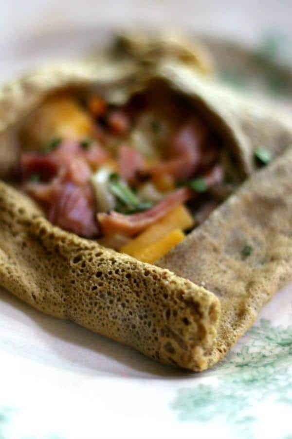 Low carb ham and cheese crepes are made with just a little buckwheat flour for flavor without the carbs. From Lowcarb-ology.com