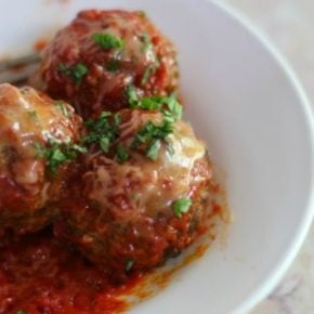 Low carb meatballs are tender and juicy. So good! From lowcarb-ology.com