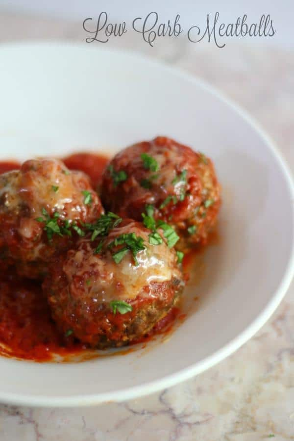 Easy low carb meatballs are great with your favorite low carb sauce. From Lowcarb-ology.com