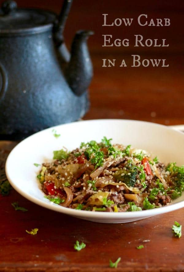 Low carb egg roll in a bowl is a quick and easy lunch or dinner with lots of Asian flavor. :) From Lowcarb-ology.com