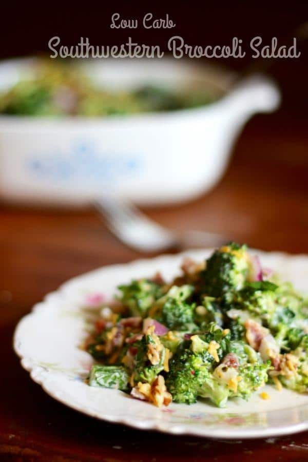 This low carb southwestern broccoli salad has 5.7 carbs and it's unbelievably good! From Lowcarb-ology.com