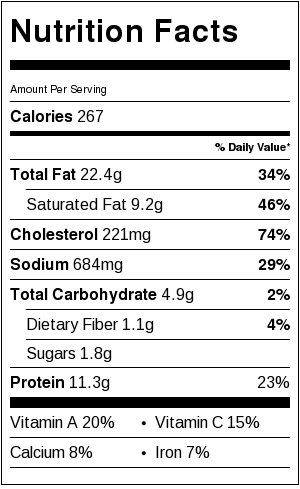 Here's the Nutrition Label for Sauteed Collard Greens and Poached Eggs.