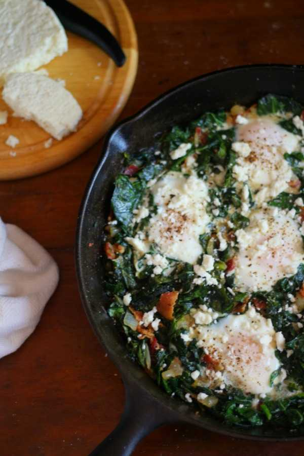 Have a healthy low carb brunch with these spicy sauteed collard greens and poached eggs. From Lowcarb-ology.com