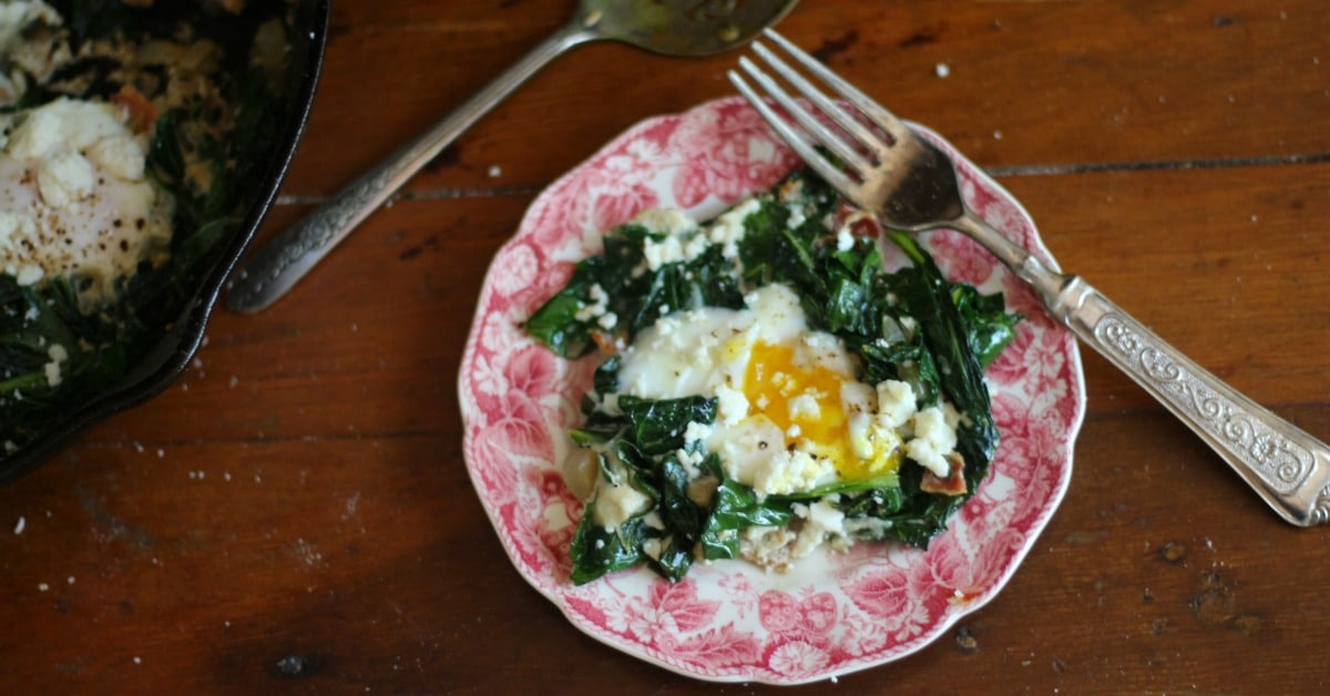Sauteed Collard Greens with Bacon and Poached Eggs - lowcarb-ology