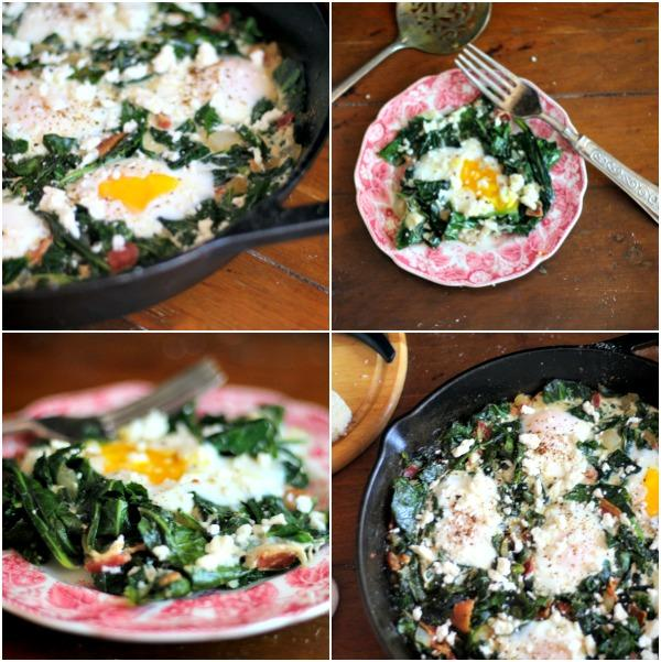 Low carb sauteed collard greens with poached eggs. Yummy! From Lowcarb-ology.com