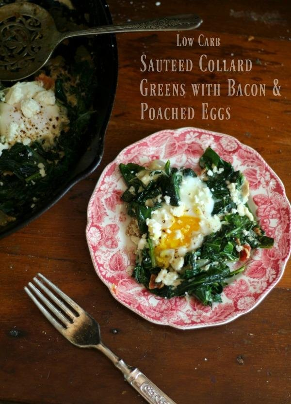 Spicy sauteed collard greens with poached eggs is a yummy breakfast with under 4 net carbs. From Lowcarb-ology.com
