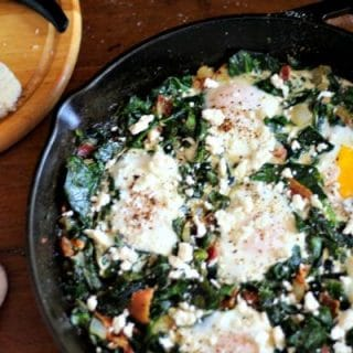 Sauteed collard greens have under 4 net carbs per serving. Gorgeous breakfast or brunch! From Lowcarb-ology.com
