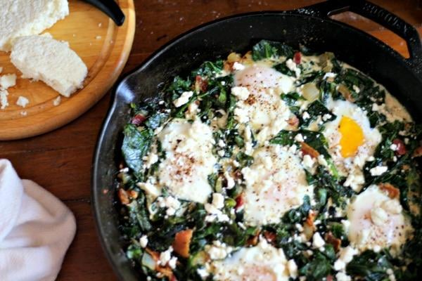 poached eggs and collard greens