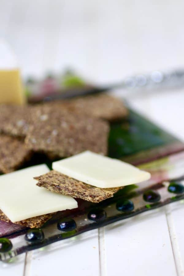 Quick and easy! These low carb Parmesan flaxseed crackers have just 0.2 net carbs and big bold flavor. From Lowcarb-ology.com