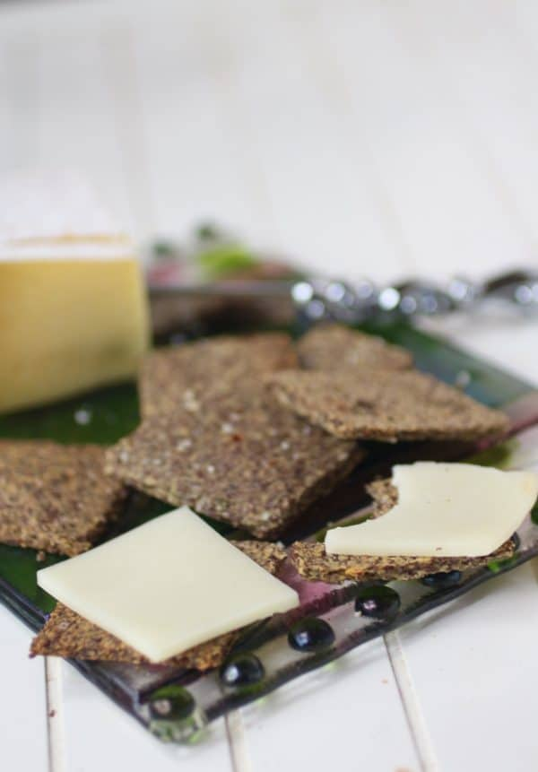 These low carb parmesan flaxseed crackers are crispy. So good with cheese and just 0.2 net carbs each! From Lowcarb-ology.com