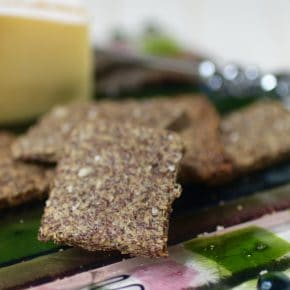 Italian spices flavors these easy, low carb Parmesan Flaxseed crackers. Just 0.2 g net carb per cracker. From Lowcarb-ology.com