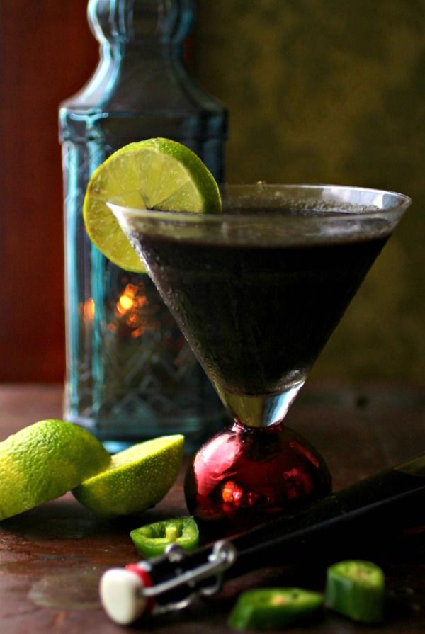 Black colored cocktail that is perfect for parties. From Lowcarb-ology.com