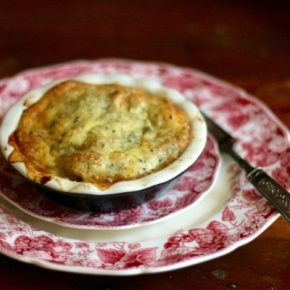 This creamy chicken pot pie is low carb and gluten free. Just 7.4 net carbs per serving. Lowcarb-ology.com