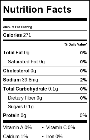 Nutritional Information for Hawaiian Iced Tea 0 carb cocktail