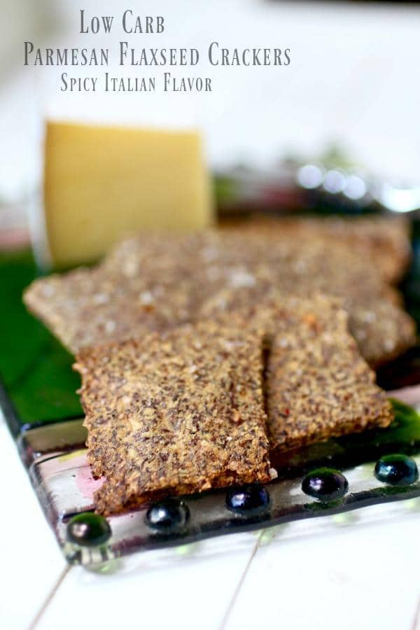 Parmesan flaxseed crackers have just 0.2 carbs each! So yummy! From Lowcarb-ology.com
