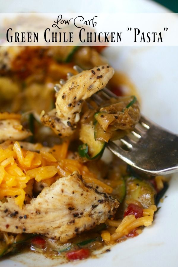 Green Chile Chicken Pasta has just over 8 net carbs per serving. SO yummy! From Lowcarb-ology.com