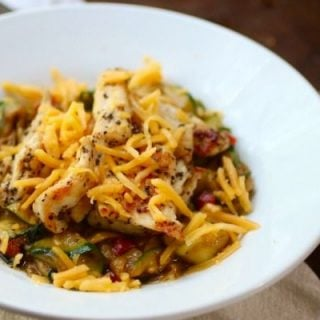 Green Chile Chicken with zucchini pappardelle is easy to make and so yummy. From Lowcarb-ology.com