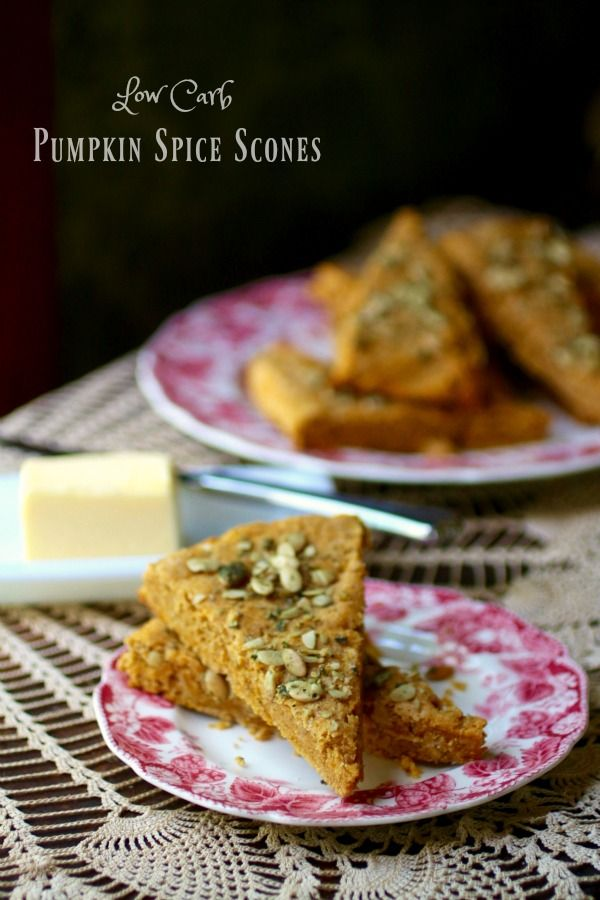 Low carb pumpkin spice scones have just 4.4 net carbs. from Lowcarb-ology.com
