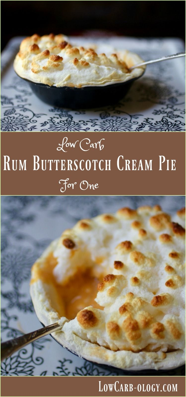 This Rum Butterscotch Cream Pie recipe is low carb and sugar free. It's so creamy - Atkins friendly, too. From Lowcarb-ology.com