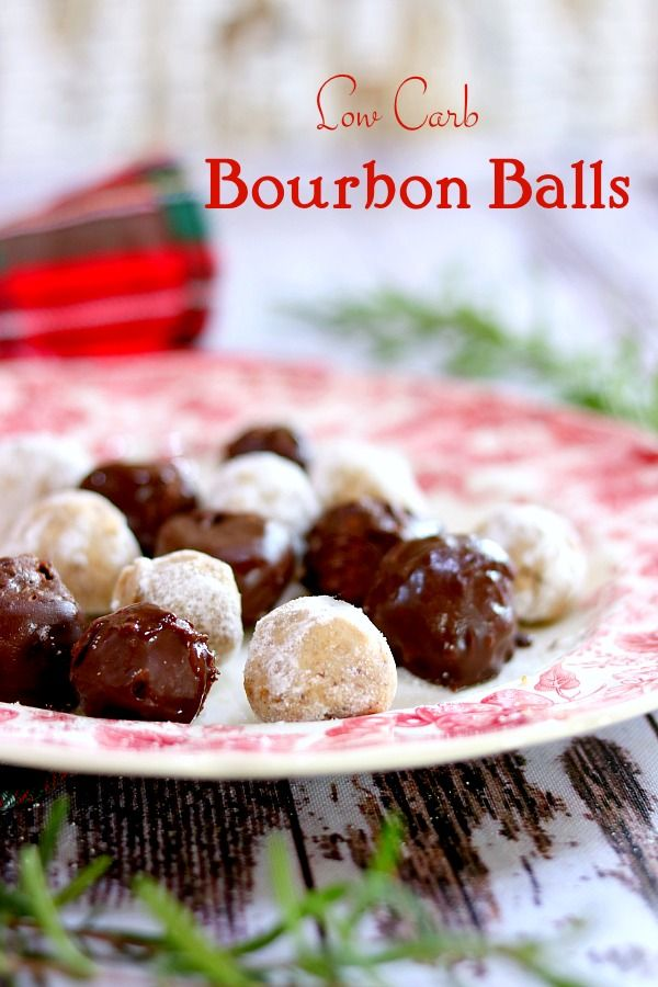 Bourbon balls coated in chocolate on a red and white plate. Title Image