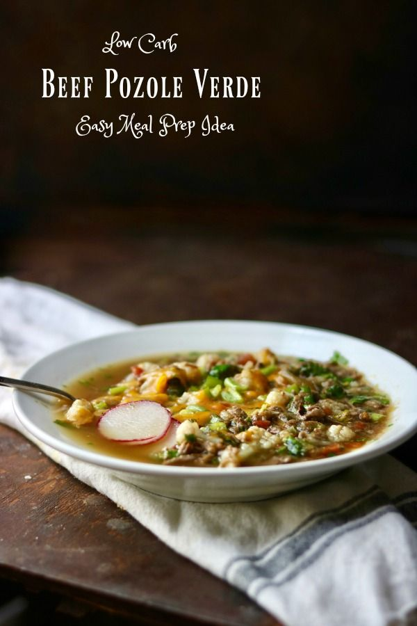 Low Carb Beef Pozole Verde is easy to make, perfect for meal prepping, and has an Atkins friendly 4.6 net carbs! So much flavor! From lowcarb-ology.com