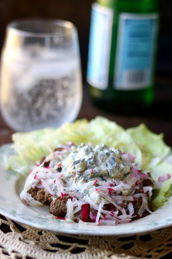 Easy Low Carb Burger recipe with a creamy tasty topping. Induction friendly. From Lowcarb-ology.com