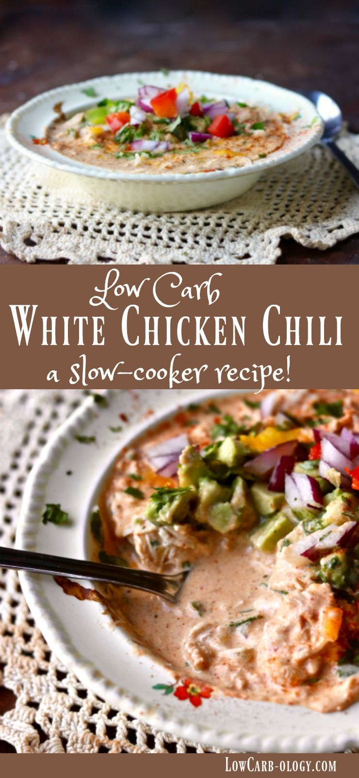 Easy & low carb, this creamy white chicken chili simmers in the slow cooker until you're ready to eat! Just 5.2 net carbs! From Lowcarb-ology.com